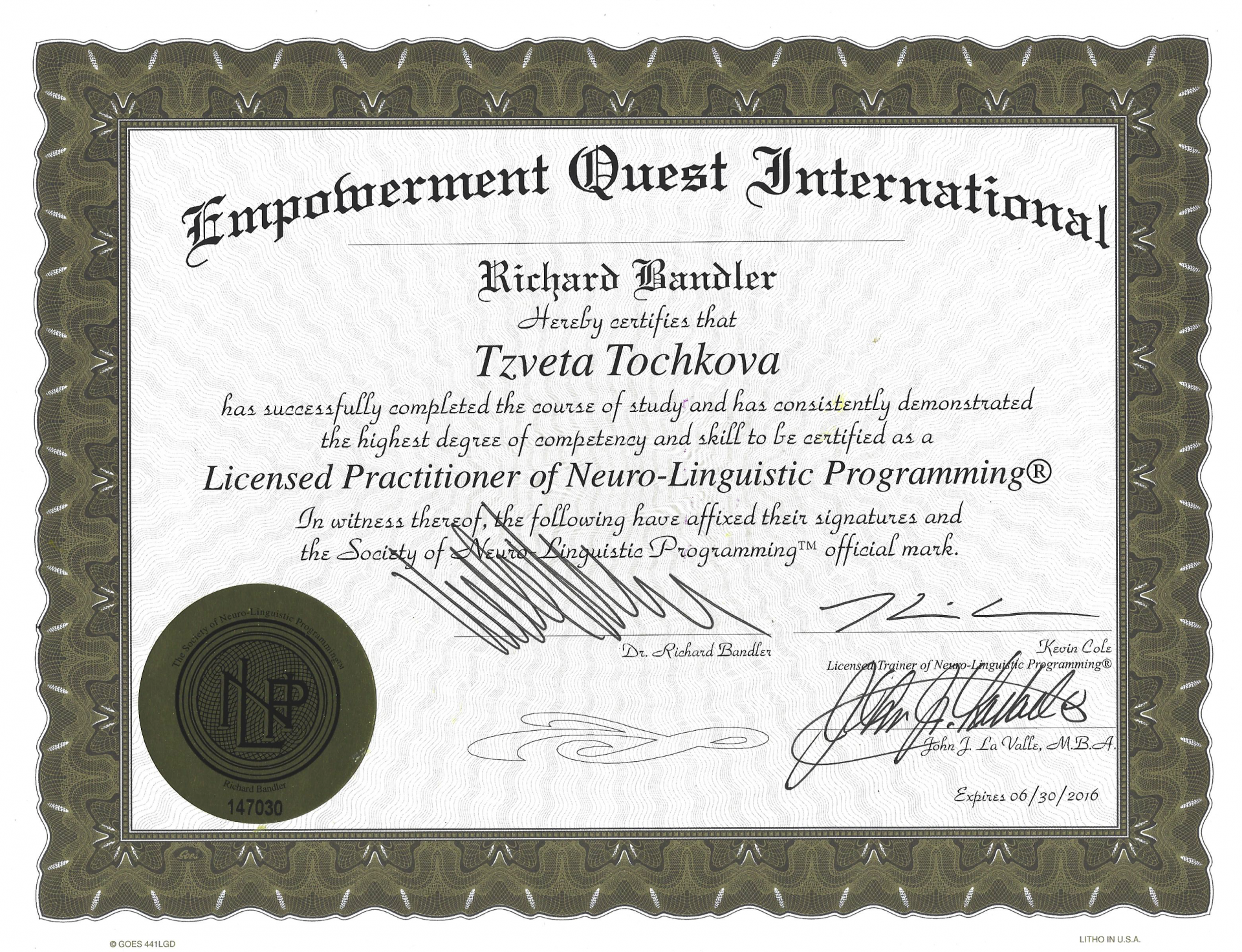 Credentials - Tzveta Davinci - Transformational Coaching